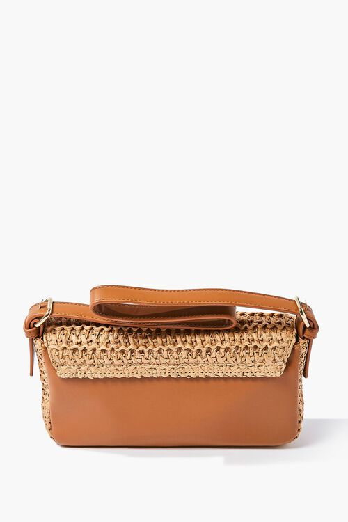 TAN/MULTI Faux Straw Shoulder Bag, image 3