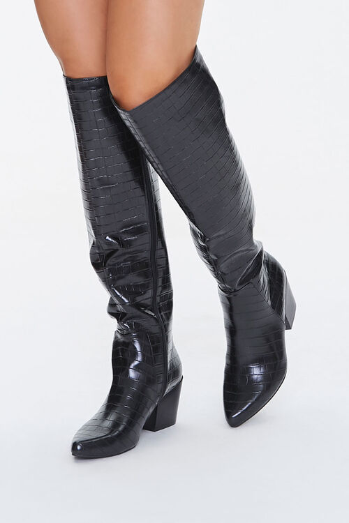 Faux Croc Leather Knee-High Boots, image 1