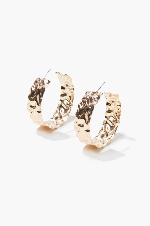 GOLD Hammered Hoop Earrings, image 2