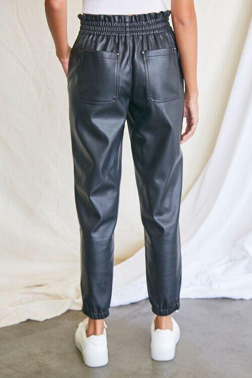 BLACK Faux Leather Paperbag Pants, image 4