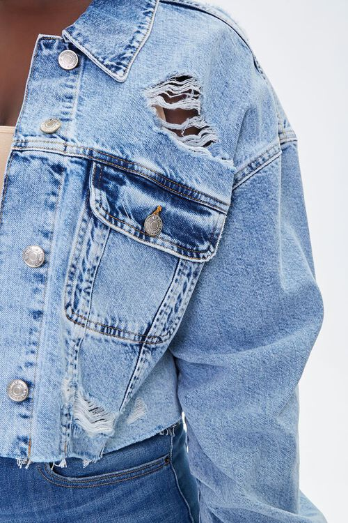 Plus Size Distressed Denim Jacket, image 5