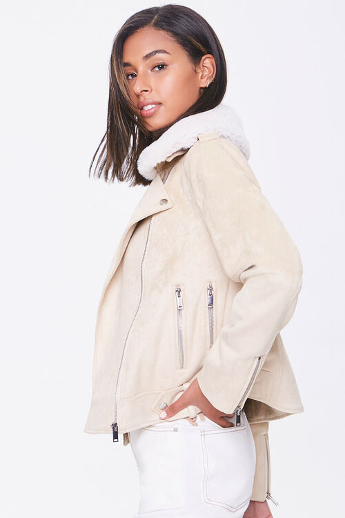 Faux Suede & Faux Fur Collar Moto Jacket, image 2