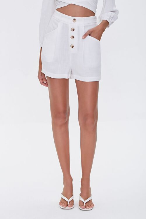 High-Rise Button-Fly Shorts, image 2