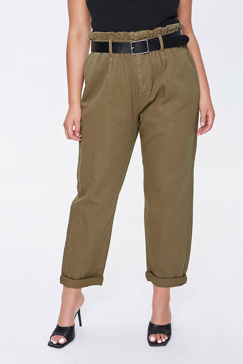 Plus Size Paperbag Ankle Pants, image 2