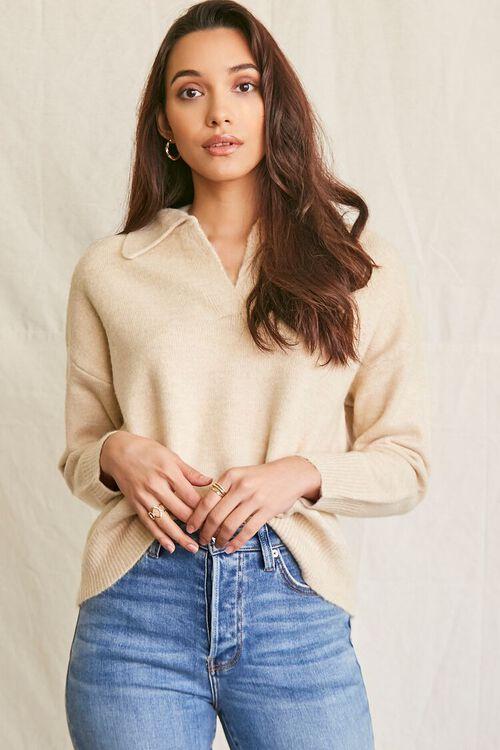 OATMEAL Brushed Split-Neck Sweater, image 1