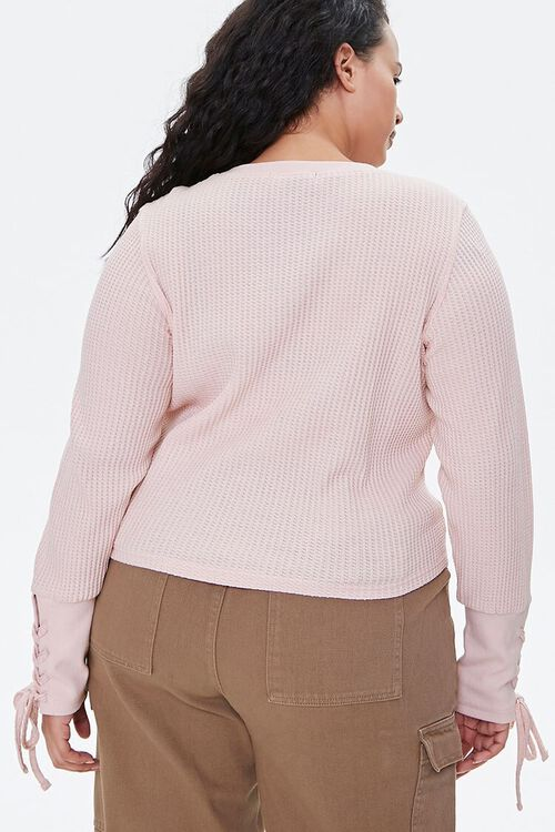 Plus Size Lace-Up Waffle Knit Top, image 3