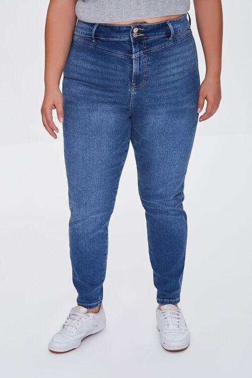 DARK DENIM Plus Size Skinny Uplyfter Jeans, image 2