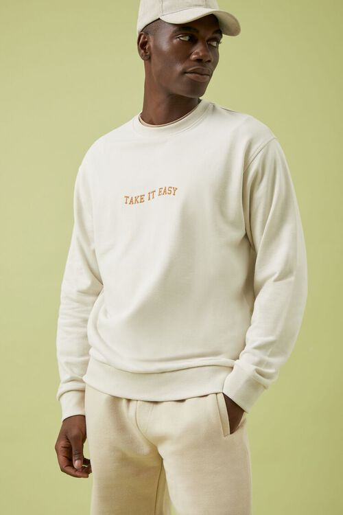 CREAM/YELLOW Take It Easy Embroidered Graphic Pullover, image 1