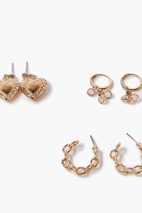 Variety Heart & Rhinestone Earring Set, image 2