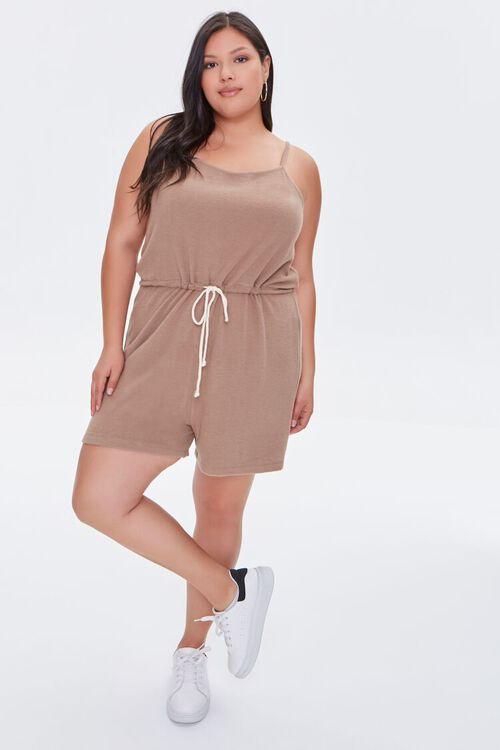 TAUPE Plus Size Cami Drawstring Romper, image 4