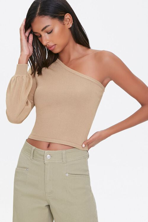 One-Shoulder Peasant Sweater, image 1