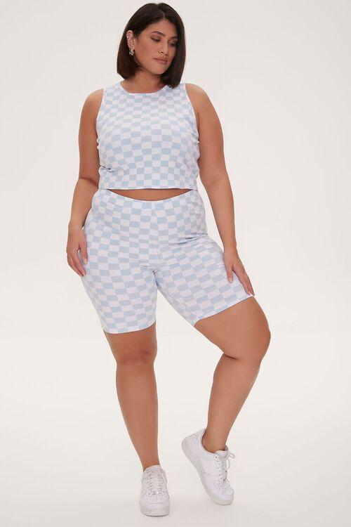 Plus Size Checkered Print Biker Shorts, image 5