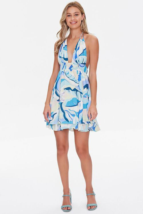 Abstract Tropical Print Fit & Flare Dress, image 4