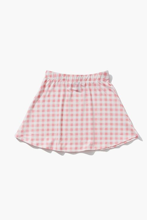 WHITE/PINK Girls Gingham Skirt (Kids), image 2