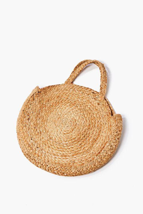 NATURAL Round Straw Tote Bag, image 1