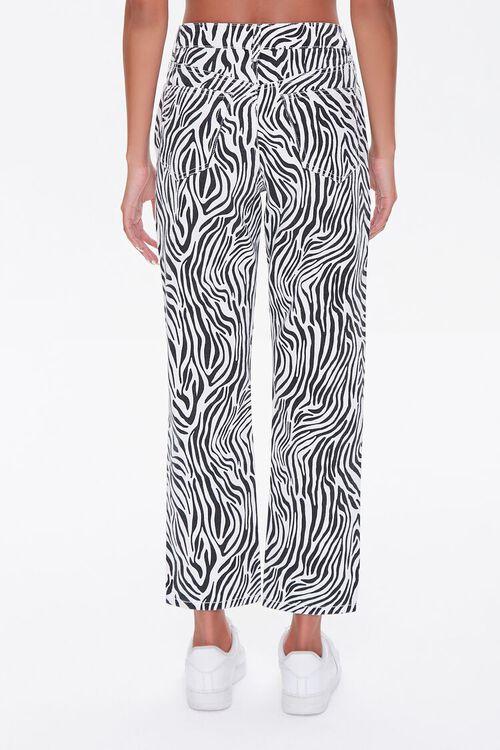 BLACK/WHITE Zebra Print Straight Jeans, image 4