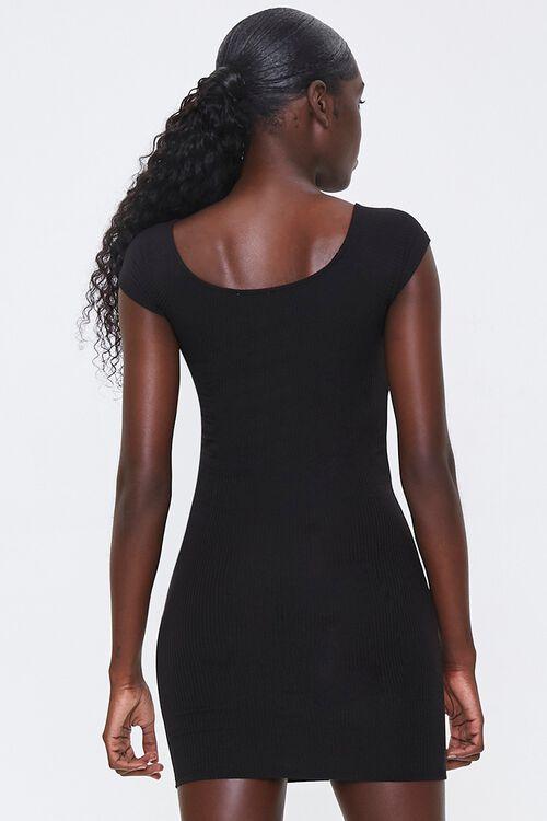 BLACK Ribbed Bodycon Mini Dress, image 3