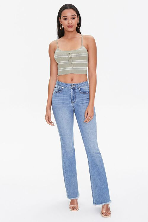 Striped Lace-Up Cropped Cami, image 4