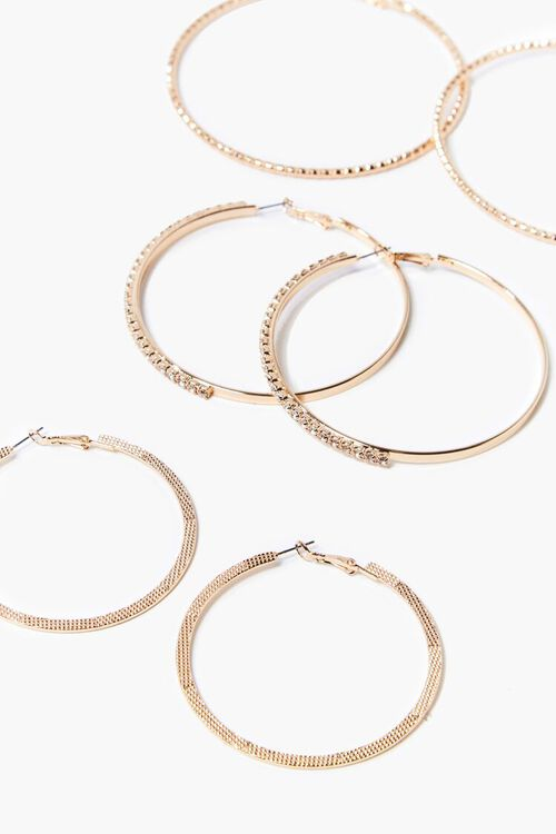 GOLD/CLEAR Textured Hoop Earring Set, image 2