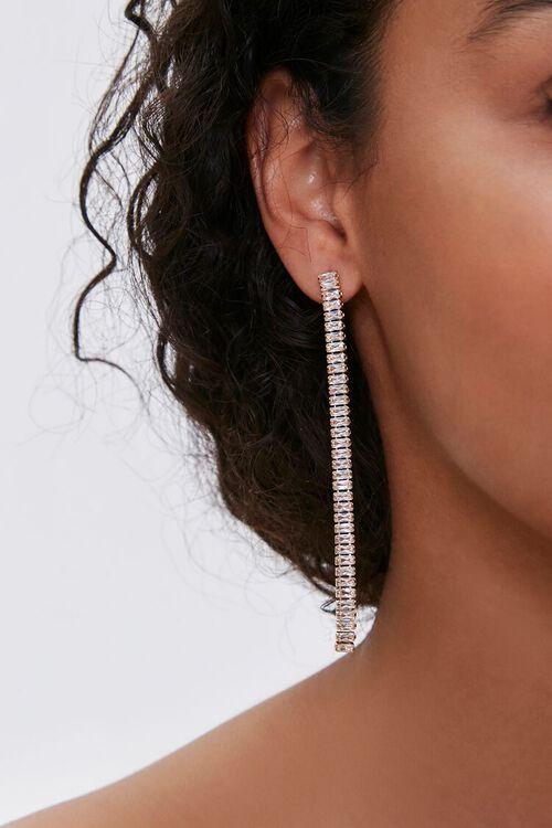 Rhinestone Box Chain Duster Earrings, image 1