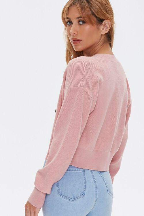 DUSTY PINK Button-Front Cardigan Sweater, image 3