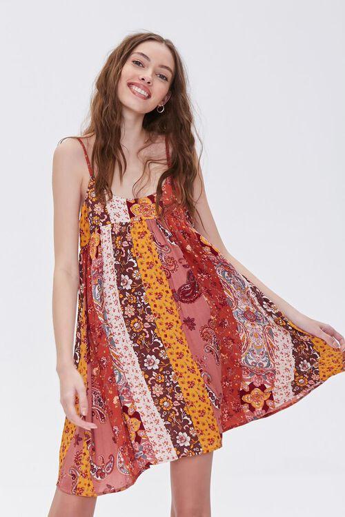 RUST/MULTI Patchwork Cami Mini Dress, image 1
