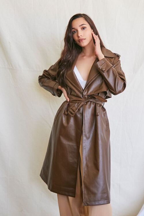 BROWN Faux Leather Trench Coat, image 1