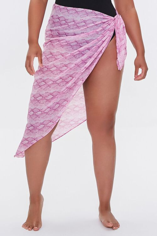 Plus Size Snake Print Swim Cover-Up Sarong, image 2