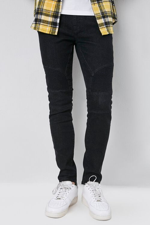 Skinny Zippered Moto Jeans, image 1