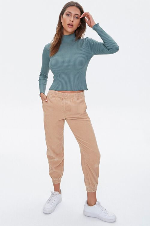 Ribbed Lettuce-Edge Sweater Top, image 4