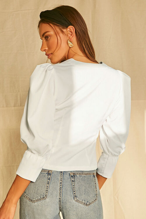 Buttoned Puff-Sleeve Top, image 3