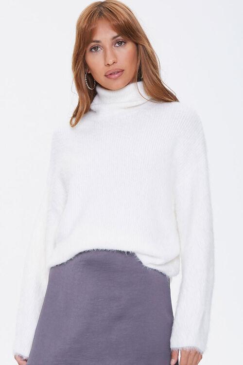 Fuzzy Knit Turtleneck Sweater, image 1