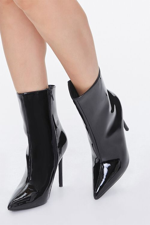 Faux Patent Leather Stiletto Booties, image 1