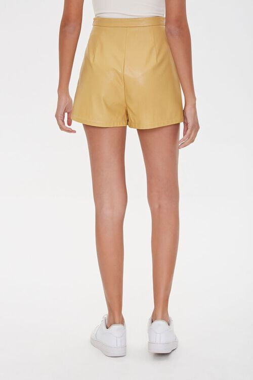 TAN Faux Leather Shorts, image 4