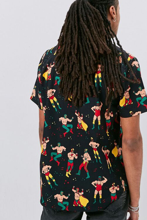 Luchador Print Fitted Shirt, image 3