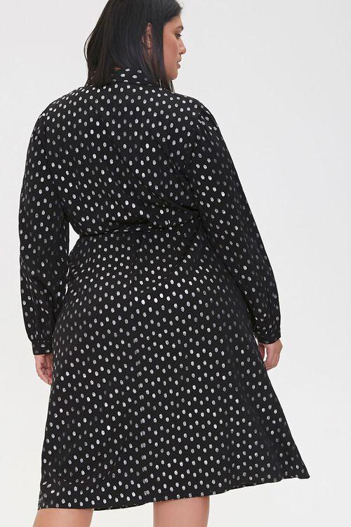 BLACK/SILVER Plus Size Polka Dot Shirt Dress, image 4