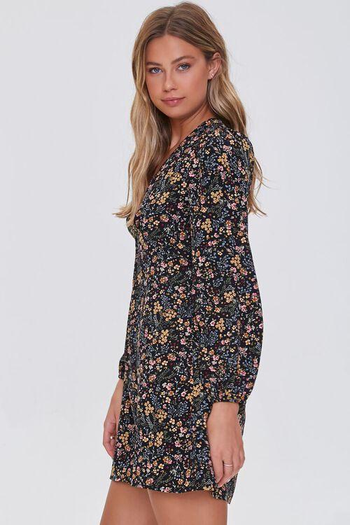 BLACK/MULTI Floral Print Mini Dress, image 2