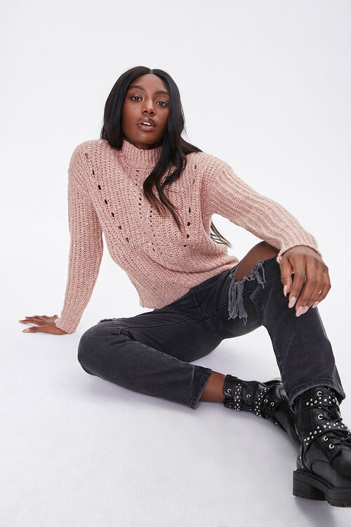 Open-Knit Mock Neck Sweater, image 1