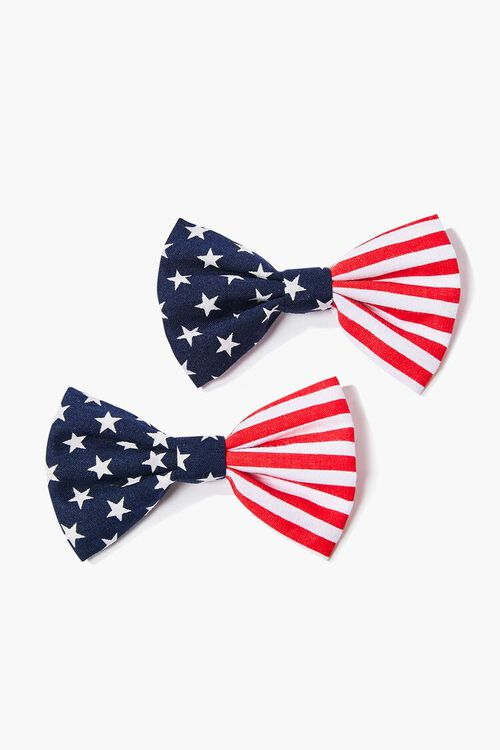 NAVY/RED Stars & Stripes Bow Hair Clip Set, image 1