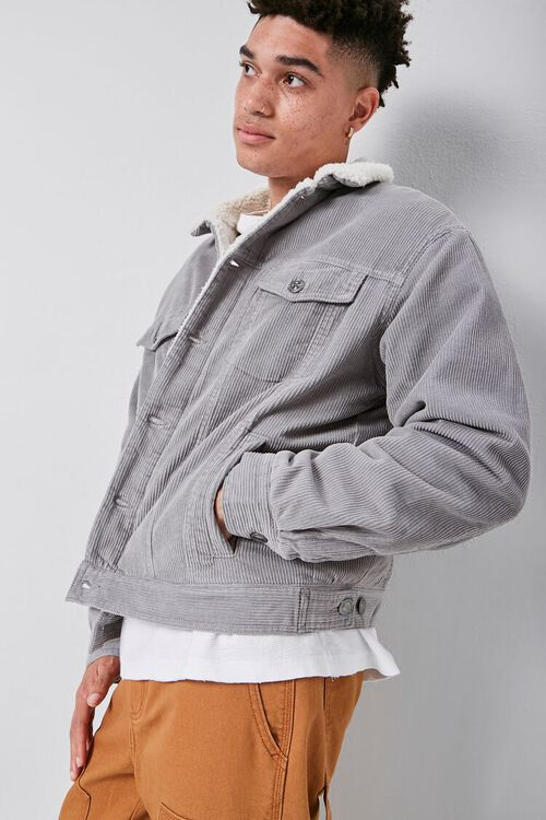 Corduroy Faux Shearling-Lined Jacket, image 1