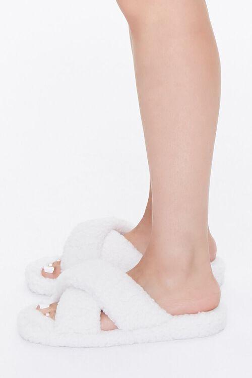 CREAM Faux Shearling Crisscross Slippers, image 2