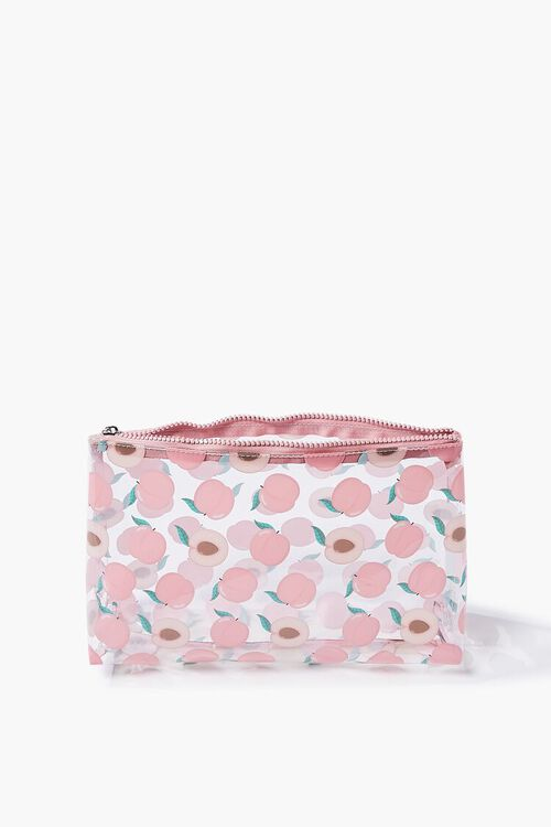Peach Print Zippered Pouch, image 3