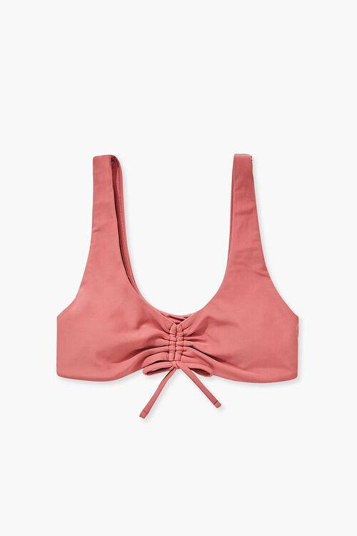 Ruched Drawstring Bikini Top, image 4