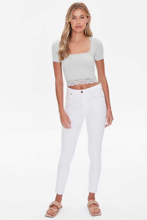 Lace-Trim Cropped Tee, image 4