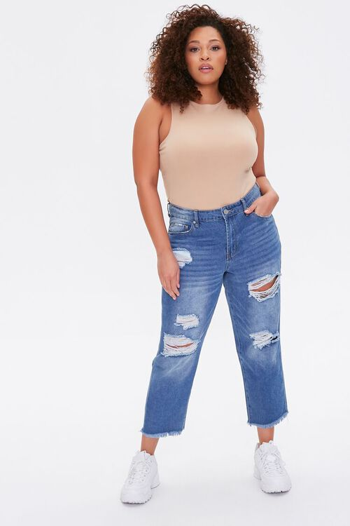 Plus Size Distressed Cropped Jeans, image 1