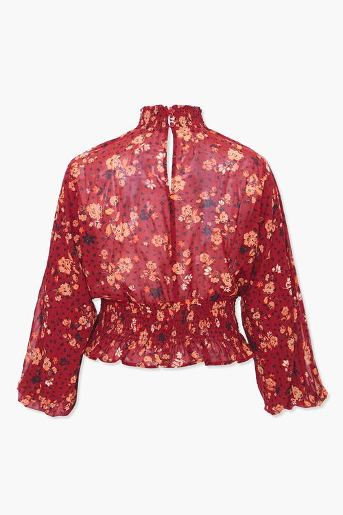Plus Size Smocked Floral Top, image 3