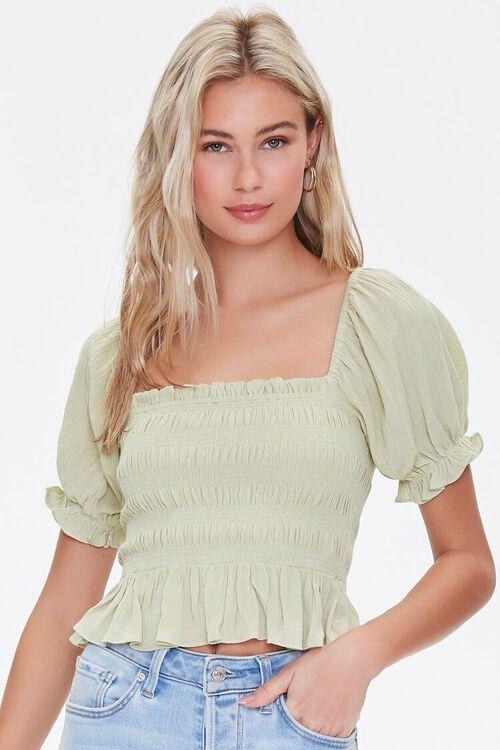 LIGHT GREEN Smocked Puff-Sleeve Top, image 1