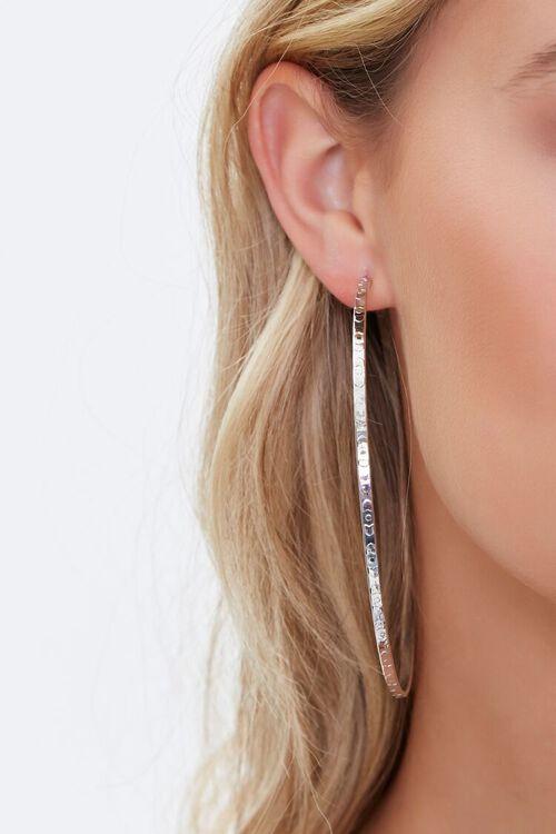 SILVER Textured Hoop Earrings, image 2