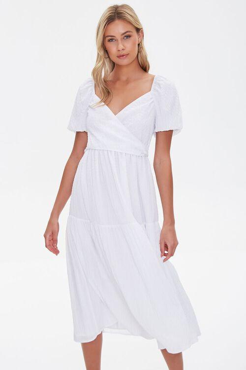 Seersucker Surplice Midi Dress, image 1