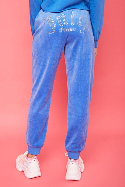 BLUE/SILVER Rhinestone Juicy Couture Velour Joggers, image 4